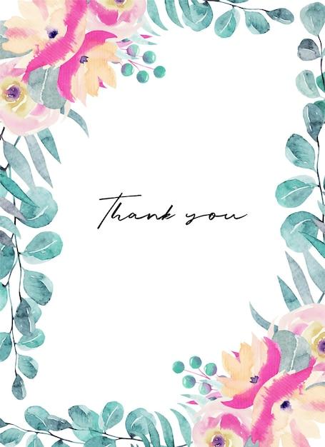 Modelo de cartão de agradecimento com flores em aquarela rosa, flores silvestres, folhas verdes, galhos e eucalipto Vetor Premium