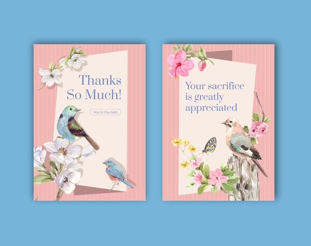 Modelo de cartão de agradecimento com pássaros e conceito de primavera Vetor grátis