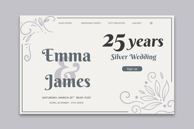 Modelo de cartão de aniversário de casamento Vetor grátis