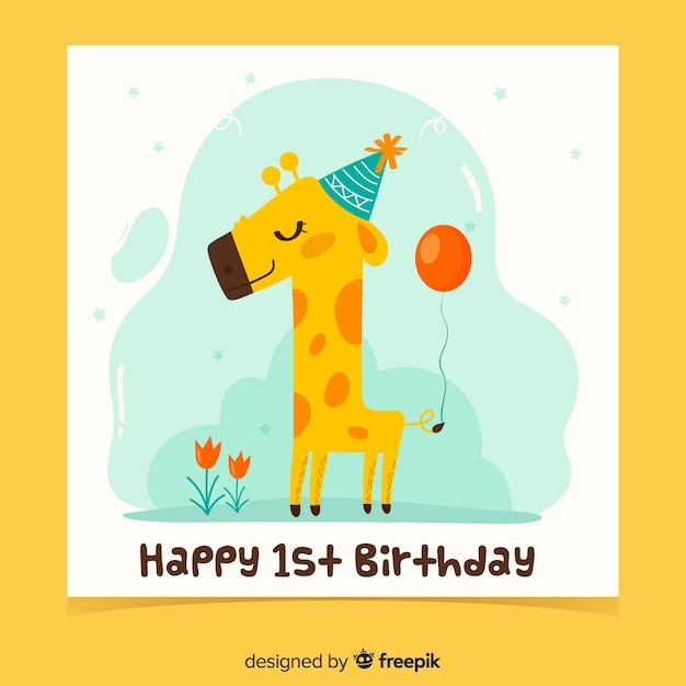 Modelo de cartão de aniversário sorridente girafa primeiro Vetor grátis