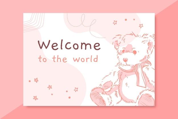 Modelo de cartão de bebê realista desenhado à mão Vetor grátis