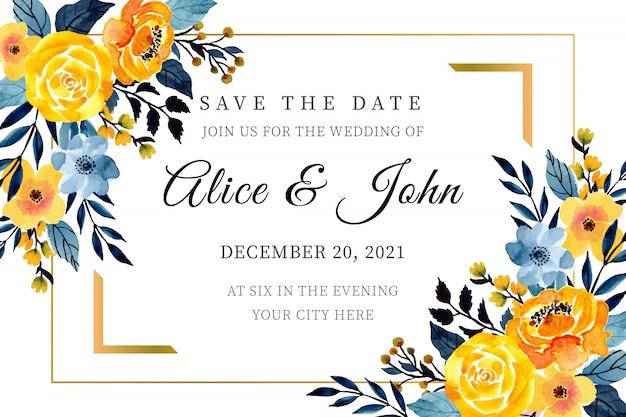 Modelo de cartão de casamento amarelo e azul com aquarela floral Vetor Premium