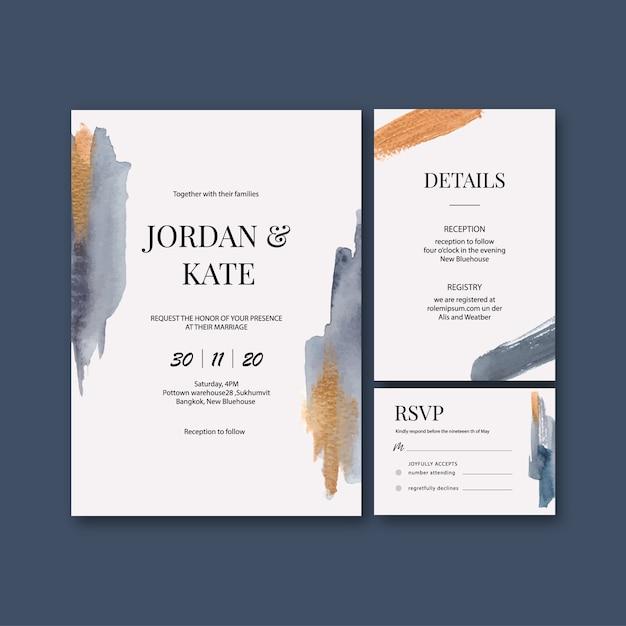 Modelo de cartão de casamento aquarela com pinceladas Vetor grátis