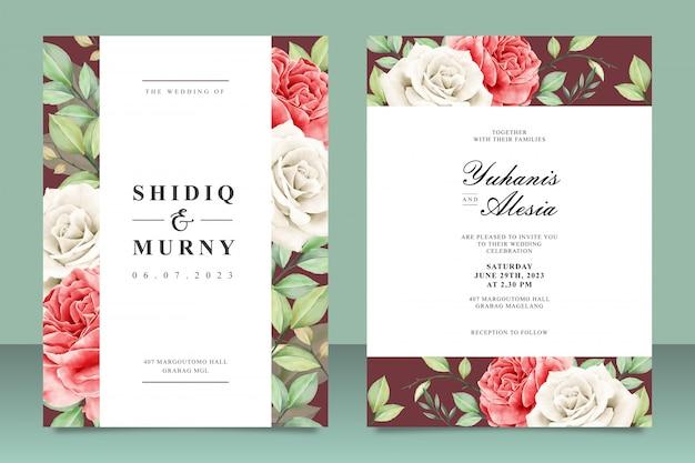 Modelo de cartão de casamento bonito com flores e folhas Vetor Premium
