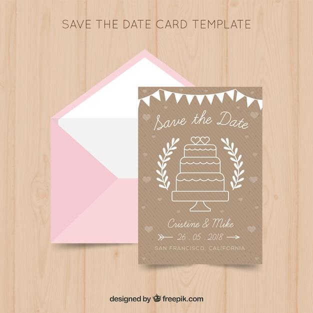 Modelo de cartão de casamento com bolo Vetor grátis