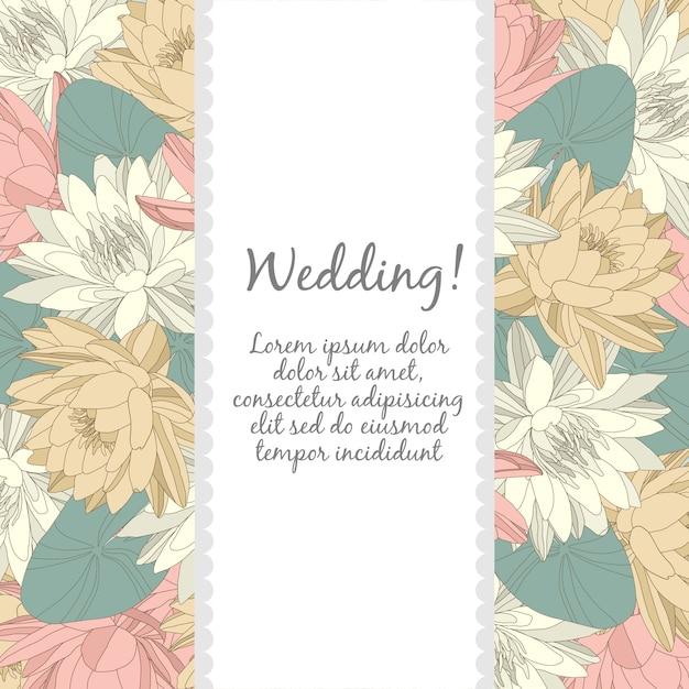 Modelo de cartão de casamento com elementos florais Vetor Premium