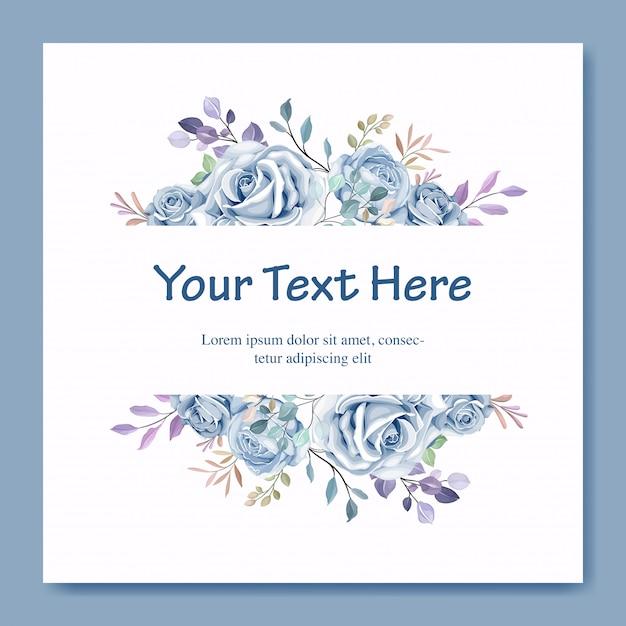Modelo de cartão de casamento com linda guirlanda floral azul Vetor Premium