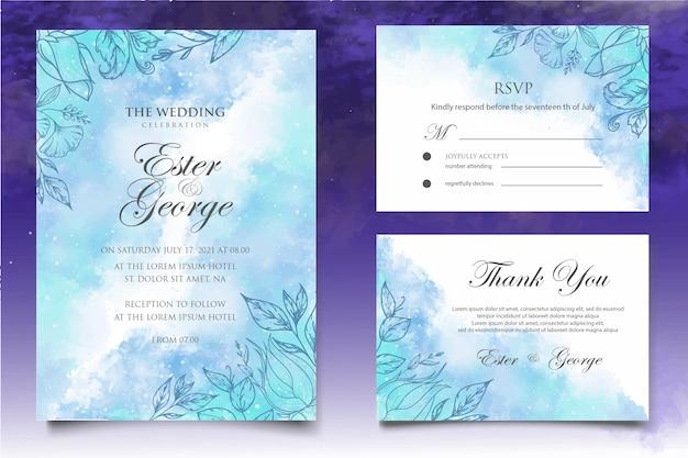 Modelo de cartão de casamento com lindos respingos e linhas florais Vetor Premium