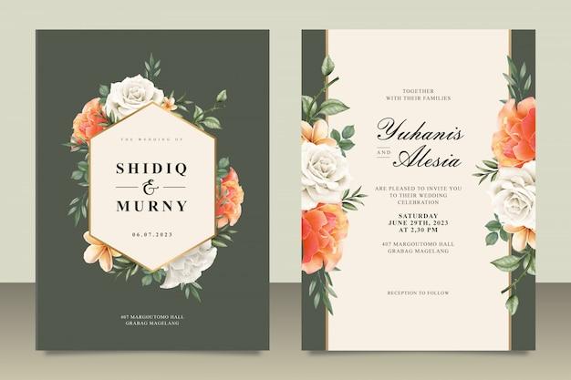 Modelo de cartão de casamento com moldura floral Vetor Premium