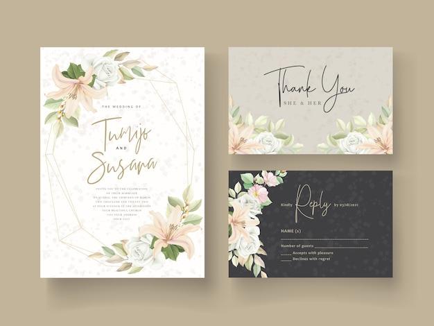 Modelo de cartão de casamento design floral Vetor grátis