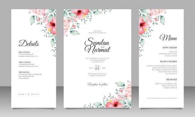 Modelo de cartão de casamento elegante com decoração floral minimalista Vetor Premium