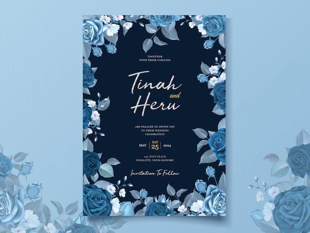 Modelo de cartão de casamento elegante com floral azul clássico e folhas Vetor grátis