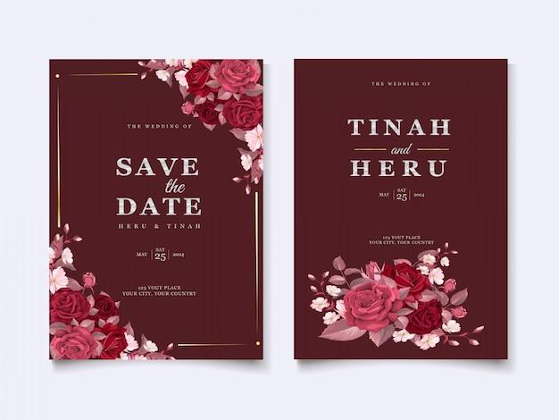 Modelo de cartão de casamento elegante com floral marrom e folhas Vetor grátis