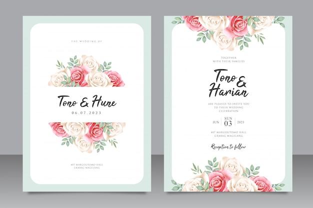 Modelo de cartão de casamento elegante com lindo quadro floral Vetor Premium