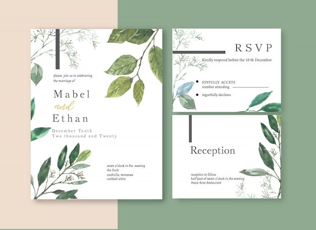 Modelo de cartão de casamento floral aquarela Vetor grátis