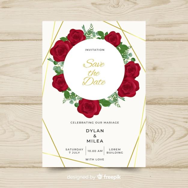 Modelo de cartão de casamento floral com moldura dourada Vetor grátis