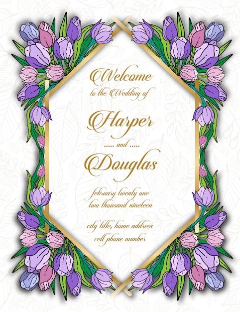 Modelo de cartão de casamento floral tulip Vetor Premium