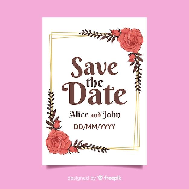 Modelo de cartão de casamento floral vintage Vetor grátis