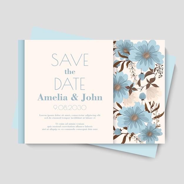 Modelo de cartão de casamento floral Vetor Premium