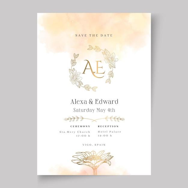 Modelo de cartão de casamento floral Vetor grátis