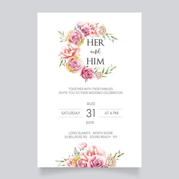 Modelo de cartão de casamento linda flor Vetor Premium