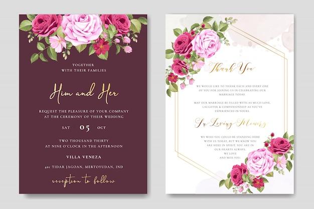Modelo de cartão de casamento lindo com rosas marrons coloridos Vetor Premium