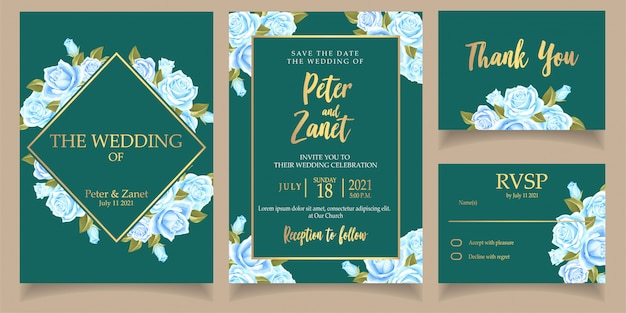Modelo de cartão de casamento lindo convite flor azul com cartão de agradecimento Vetor Premium