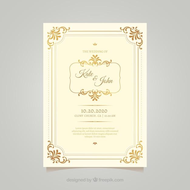 Modelo de cartão de casamento vintage com estilo elegante Vetor grátis