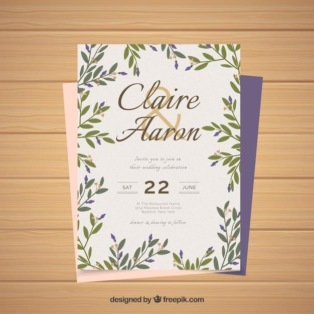Modelo de cartão de casamento vintage com estilo floral Vetor grátis
