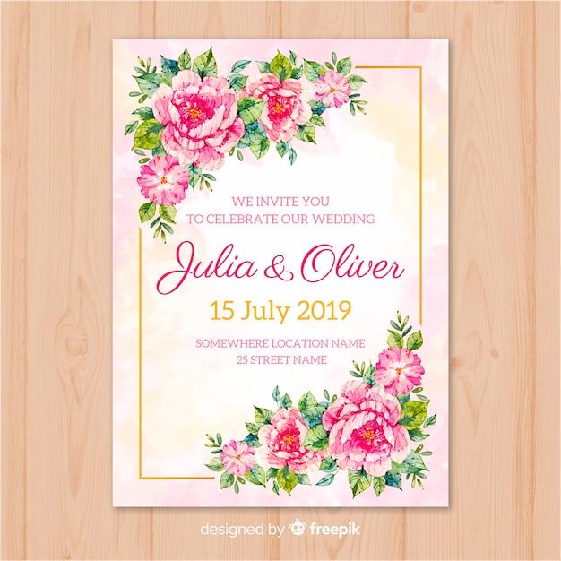 Modelo de cartão de casamento Vetor grátis