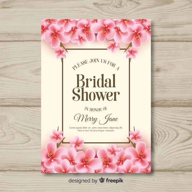 Modelo de cartão de chuveiro nupcial realista flores Vetor grátis