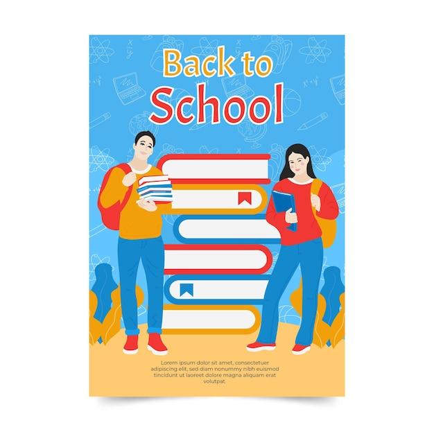 Modelo de cartão de colegas e pilha de livros de volta à escola Vetor grátis