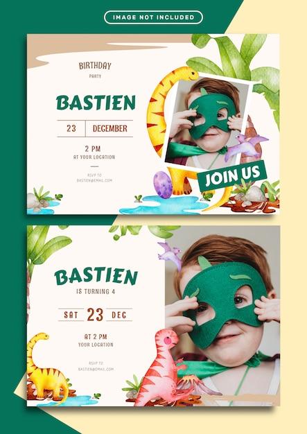 Modelo de cartão de convite de aniversário com ilustração em aquarela de tema jurássico Vetor Premium