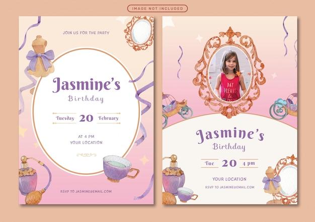 Modelo de cartão de convite de aniversário com ilustração em aquarela tema princesa Vetor Premium