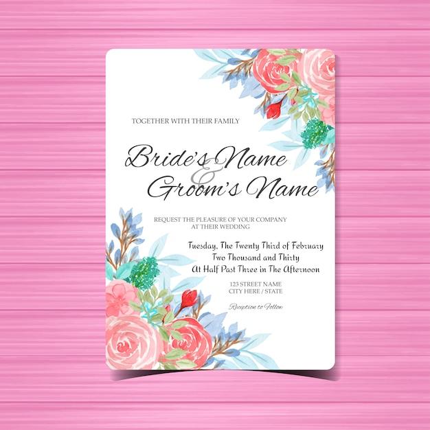 Modelo de cartão de convite de casamento aquarela com flores cor de rosa Vetor Premium