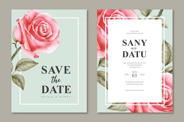Modelo de cartão de convite de casamento bonito com design floral minimalista Vetor Premium