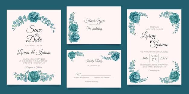 Modelo de cartão de convite de casamento bonito conjunto com moldura floral geométrica Vetor Premium