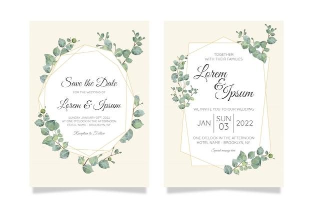 Modelo de cartão de convite de casamento botânico em aquarela linda conjunto com decoração de flores Vetor Premium