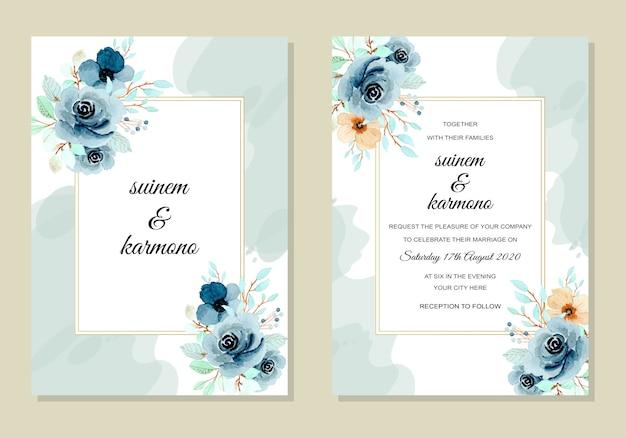 Modelo de cartão de convite de casamento com aquarela de flor índigo Vetor Premium