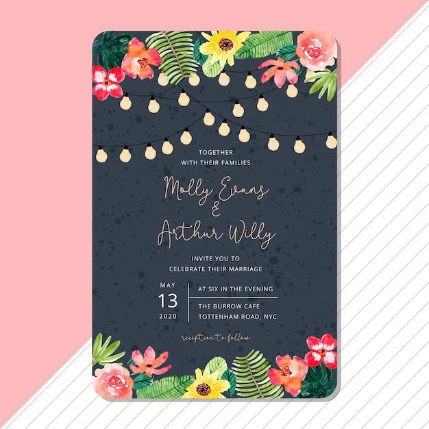 Modelo de cartão de convite de casamento com aquarela floral de verão tropical Vetor Premium