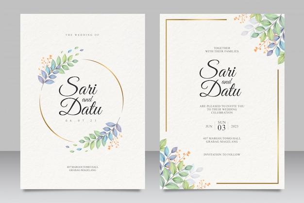 Modelo de cartão de convite de casamento com as folhas bonitas Vetor Premium