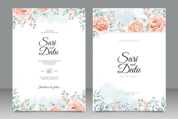 Modelo de cartão de convite de casamento com belo design floral Vetor Premium