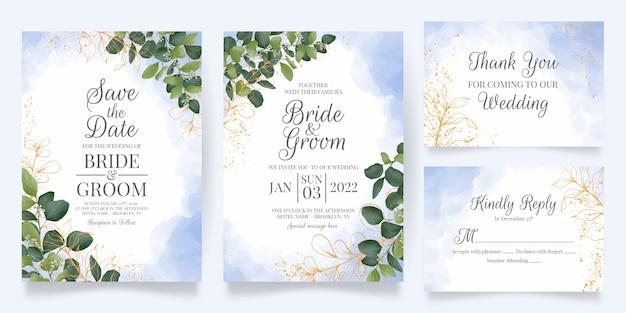 Modelo de cartão de convite de casamento com decoração de folhas em aquarela Vetor Premium
