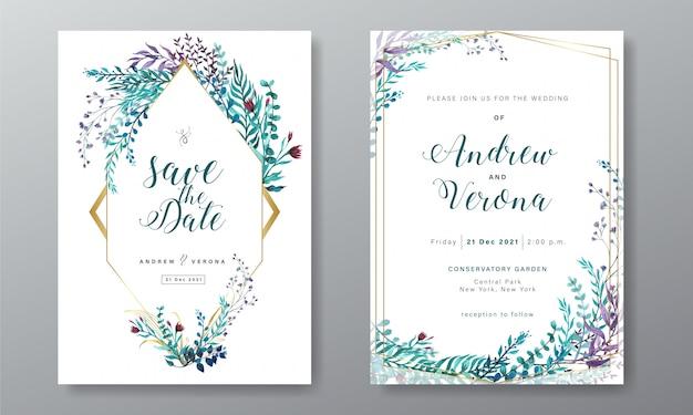 Modelo de cartão de convite de casamento com decoração floral em aquarela Vetor Premium