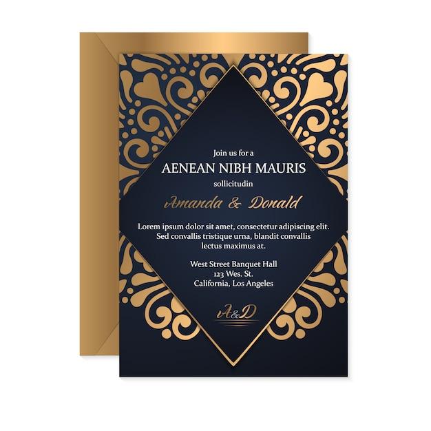 Modelo de cartão de convite de casamento com estilo étnico, design oriental Vetor grátis