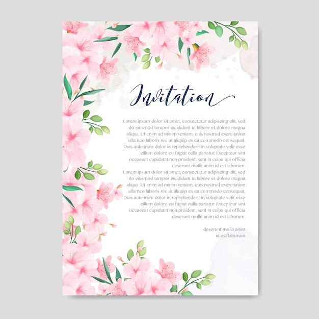 Modelo de cartão de convite de casamento com floral cherry blossom frame Vetor Premium
