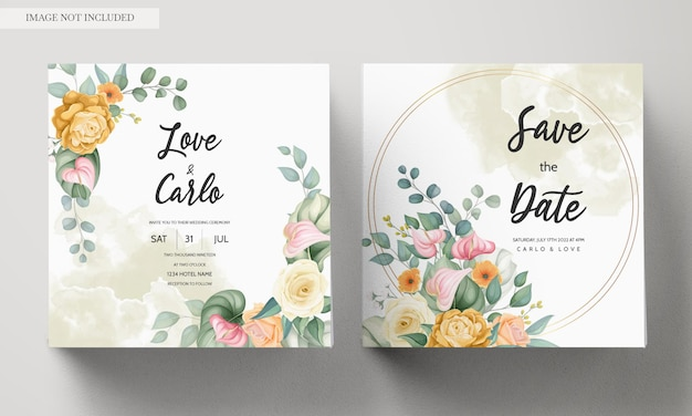 Modelo de cartão de convite de casamento com flores coloridas em flor Vetor grátis