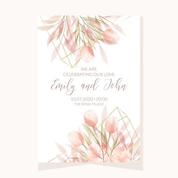 Modelo de cartão de convite de casamento com flores em aquarela Vetor Premium