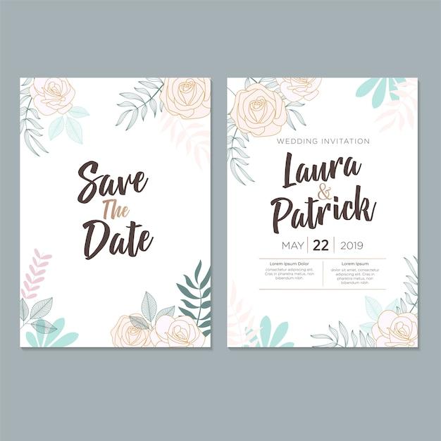 Modelo de cartão de convite de casamento, com folha e design floral Vetor Premium