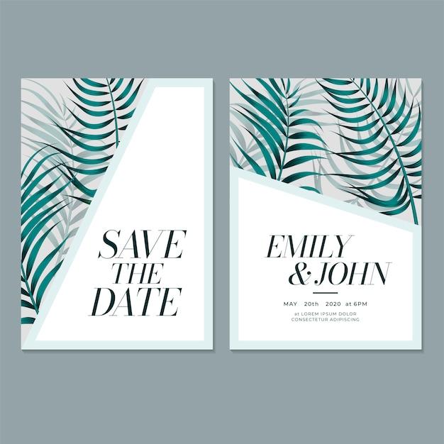 Modelo de cartão de convite de casamento com folha Vetor Premium